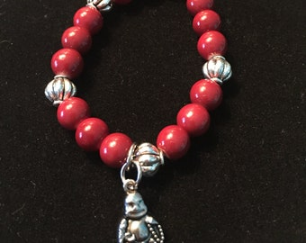 Red glass opaque & silver plated Beads