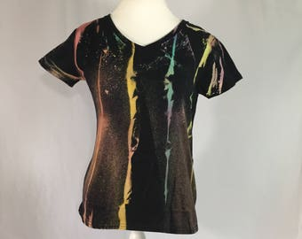 10.00 SALE!!!!! Black bleach dyed v neck
