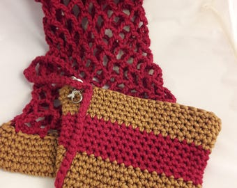 2 Piece Crochet Cotton/Blend, Gold/Brown and Wine/Burgundy Open Weave Market Bag with Matching Wristlet
