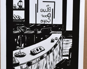 Fine Art Giclée Print 'Blue Door Café' Limited Edition from Original Inked Illustration 20 x 25 cm