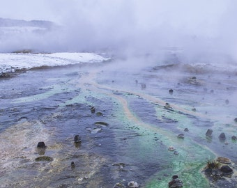 Art photography landscape in Iceland in winter colors of geysir