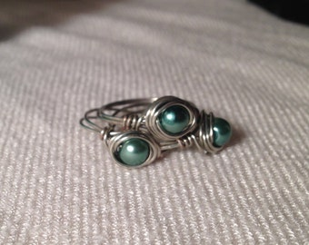 Emerald Wrapped Pearl Ring