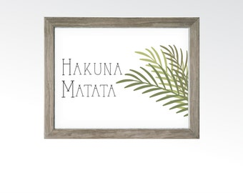 Hakuna Matata Sign - No Worries No Problems Palm Tree Wall Decor - Printable Digital Art - Instant Download Multiple Sizes - Island Surfer