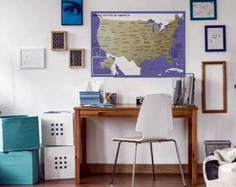 Scratch Off Map Etsy - Scratch off us map