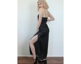 Black Maxi Slip Dress // Vintage 70s Lingerie High Slit Lace Sheer - Medium