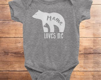 Mama bear outfit, Mama bear loves me, mommy and me, i love mama, baby bodysuit, gift for mom, mothers day, mama, mama bear, baby bear