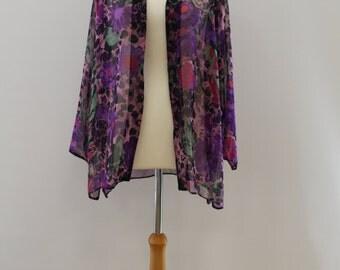 Flower Print Collarless Long Sleeve Shirt (Purple/Black/Pink/Green/Lylac)