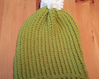 Hat adult green knitted woman