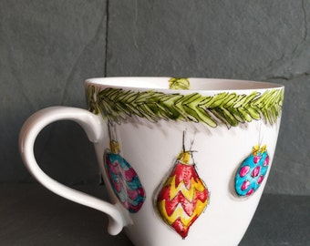 Christmas Festive Mug.  Deck the Halls! The perfect Christmas gift! Lovingly handpainted in Cornwall by Yselladesigns.
