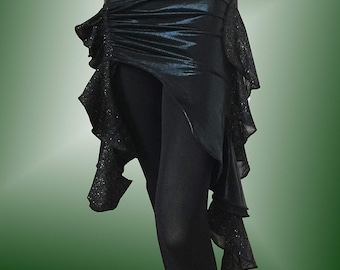 Black Mystique Belly Dance Hip Scarf / Asymmetrical Overskirt with Black & Silver Glitter Mesh Accents
