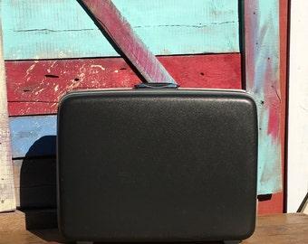 "Dark Gray Samsonite 26"" Suitcase / Silhouette / Vintage 1970s Luggage (Charcoal Black)"