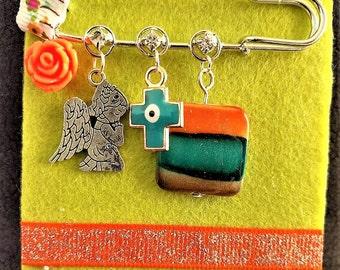 Newborn/ Baby Girl/ New Mom/ Safety Pin/ Decorative Gift/ Baptism/ Baby Shower/Angel/ Cross/ Flower/Orange/Turquoise/ Brown/ Beads/