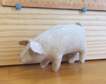 "5"" stuffed pig ornament~neutral"