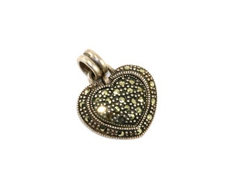 Vintage Heart Shape Marcasite Inlay Pendant 925 Sterling Silver PD 409