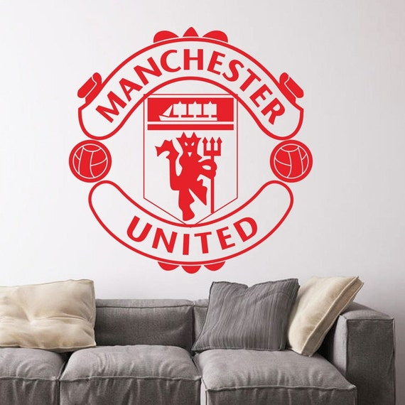 Vinyl Wall Decal - Manchester United Soccer Football team logo Wall Sticker School Sports Wall Decals For Boy kids room Bedroom
