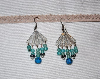 Unique and handmade. Earrings dangle, silver, glass beads
