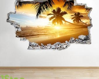 Paradise Beach Sunset Wall Sticker 3d Look - Ocean Sea Beach Bedroom Lounge Z2