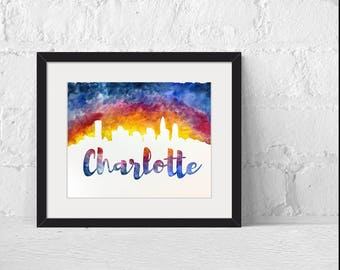 Charlotte, NC City Skyline Watercolor Abstract Painting Fine Art Print, Giclee Print Abstract Print, Watercolor Painting Print