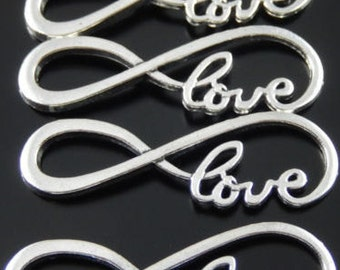 Silver Love infinity charms