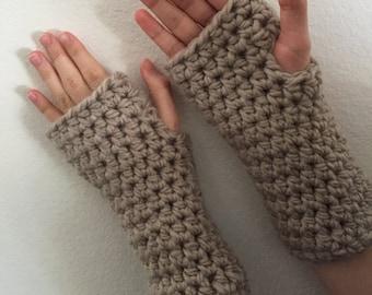 Crochet Fingerless Gloves - Soft Arm Warmers- Light Brown - Wool Blend- Warm Winter Gloves- Comfortable Gloves