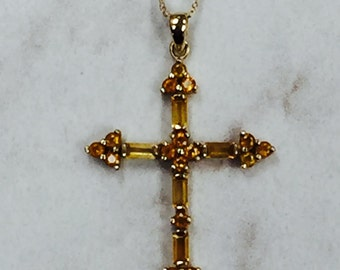 10kt Yellow Gold Custom Genuine Citrine Cross