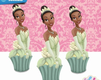 Tiana Cupcake Toppers,  Princess and the Frog  Birthday Party  Printables