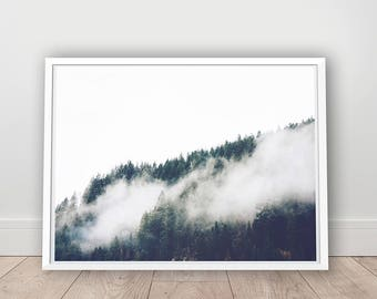Forest Print - Foggy Mountain Printable, Digital Download, Nature Decor, Wanderlust Print, Foggy Mountain Photo, Peacful Art, Nature Art