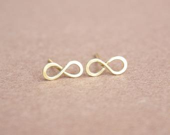 22K Gold Infinity Earrings Infinity Earrings Infinity Symbol Friendship Earrings Minimal Earrings Eternity Earrings Gold Infinity Studs