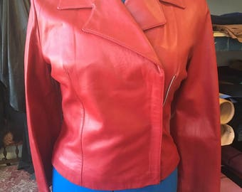 Brand new red leather jacket. Womens leather jacket