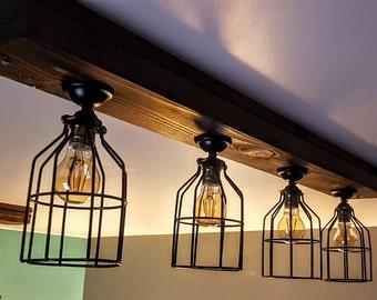 Rustic Farmhouse Decor - Ceiling light - Cage Light - Barn Light - Flush Mount