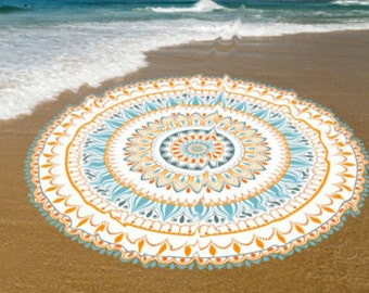Sweat absorbent Roundie Cotton Beach towel, Yoga roundie mat, meditation roundie mat, Roundie beach spread