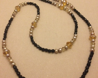 Vintage Champagne Crystal and Black Glass Bead Necklace