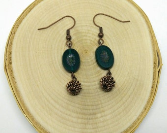 Emerald Green and Red Copper Dangle Earrings