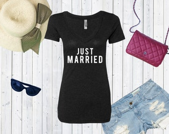 Just Married V neck Tshirt / High Quality Bride Tshirt / Gift For Bride Triblend Vneck / Honeymoon Shirt