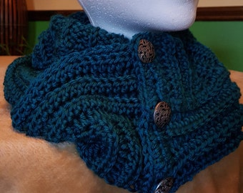 Teal, Ribbed Infinity Scarf
