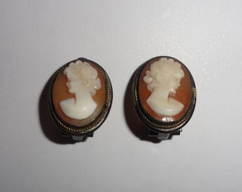 Vintage Italian Hand Carved Shell Cameo 800 Silver Clip Earrings 1950's
