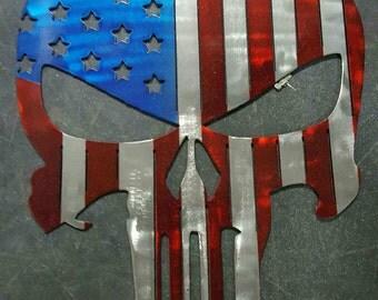 Metal Punisher Skull- American Flag or Texas Flag Design
