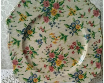 Vintage Cake Serving Plate Entree Plate Vintage Tableware Mismatched China Tapestry Plate