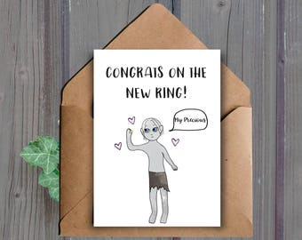 DIGITAL DOWNLOAD, Funny Engagement Card, Lord of the Rings Card, Gollum, Funny Wedding Card, Bridal Shower Card, New Ring, Nerdy Card, Bride