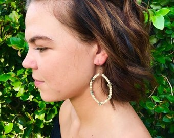 Teardrop Hoop Earrings / Beaded Hoop Earrings / Hoop Earrings / Trendy Earrings / Teardrop Earrings / Statement Earrings