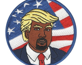 Kanye x Trump American Flag Embroidered Iron On Patch