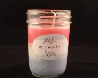 American Pie red, white and blue layered soy jar candle  **Limited Edition**