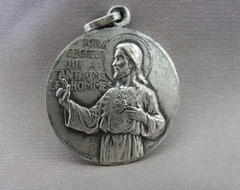Jesus Sacred Heart Medal by Penin Poncet - French Vintage Large Religious Scapular Medal Pendant Charm - Immaculate Conception Mary Necklace
