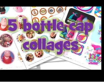Set of 5 bottle cap collages sheets of your choice.