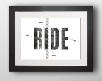 Cycling art, Word cloud print, Typographical cycling print, Bike print UK, A3 (Unframed)