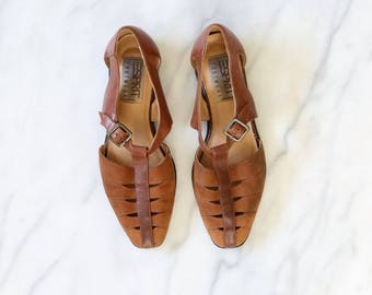 1990'S ESPRIT Brown Leather T Straps Mary Janes