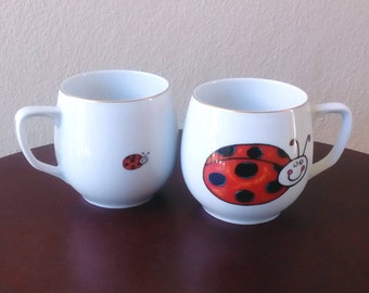 Vintage Coffee Cup Tea Cup Porcelain Coffee Mug Porcelain Cup Lady Bug Cup Set of Two Love Couple Cups Fine China Cup Porcelain White Cup
