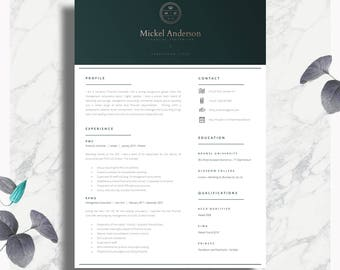 Professional CV Template | Two Page Resume + Cover Letter + Advice |  Printable For Word
