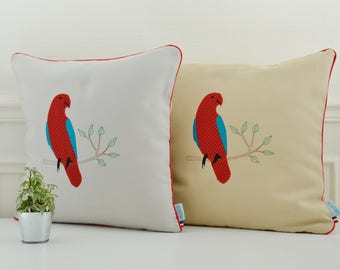 Embroidered Parrot cushion cover 16 x 16 inch, limited edition on grey or beige background