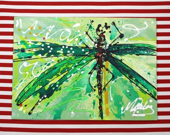 Original Acrylic Painting on Canvas Board, Dragonfly, 14in x 10in
